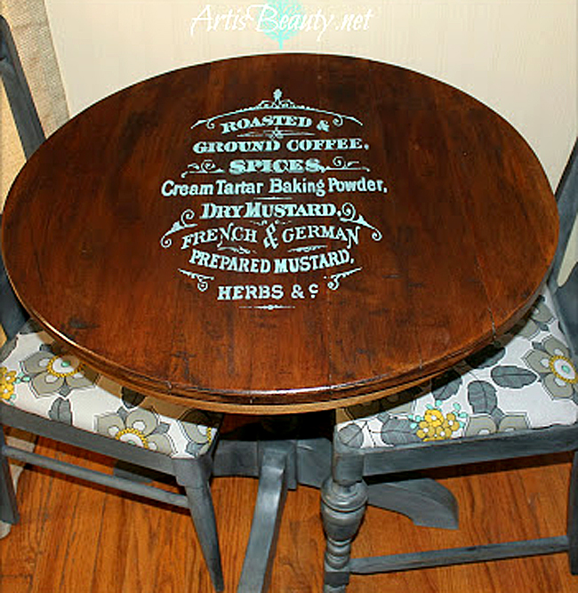 Painted Coffee Sign Table