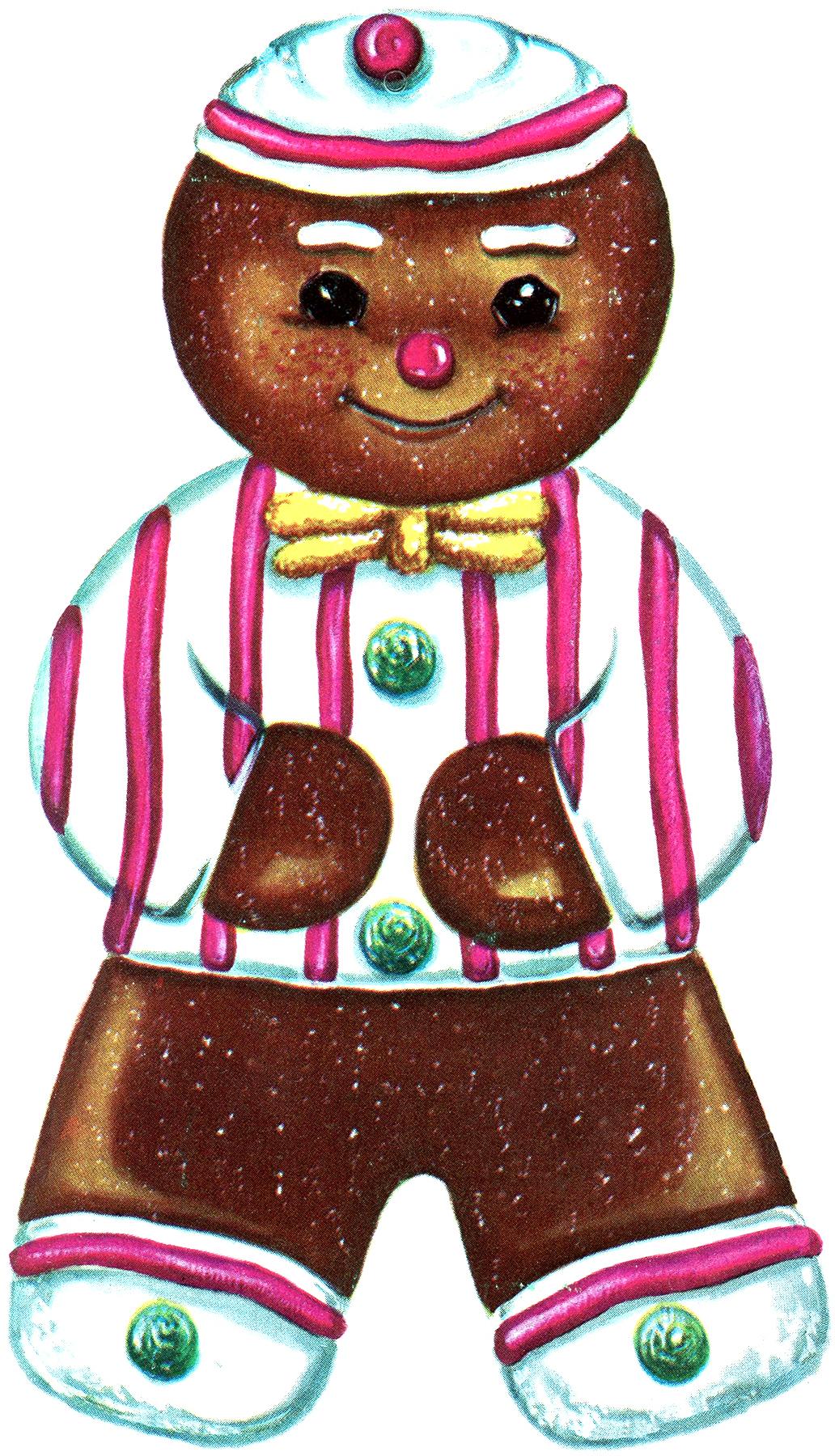 Printable Ornaments Gingerbread Man & Retro Bird - The Graphics Fairy