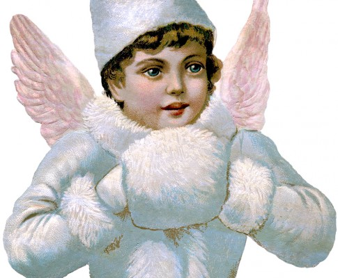 Gorgeous Victorian Scrap Angel Image – Pink Wings