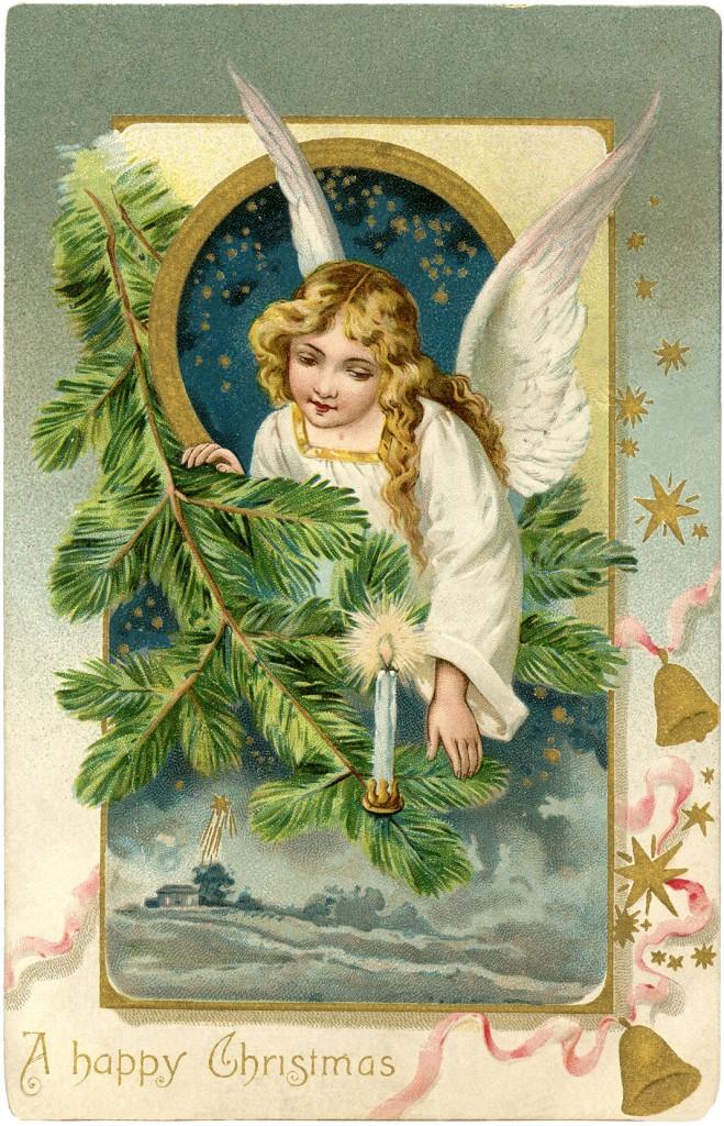 Vintage Angel Surrounded with Pine Postcard