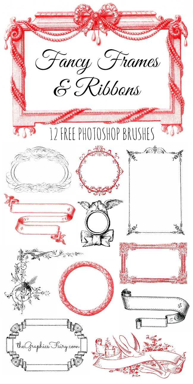 Fancy Frames and Ribbons Free Photoshop Brushes - The Graphics Fairy