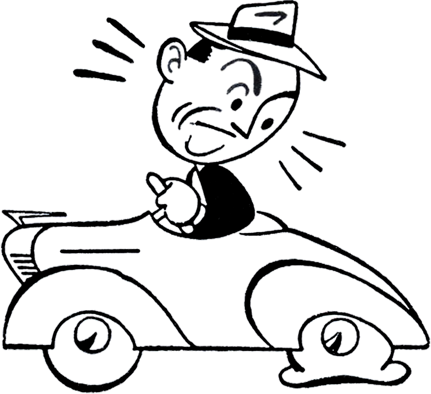 Retro Car Trouble Clip Art - The Graphics Fairy