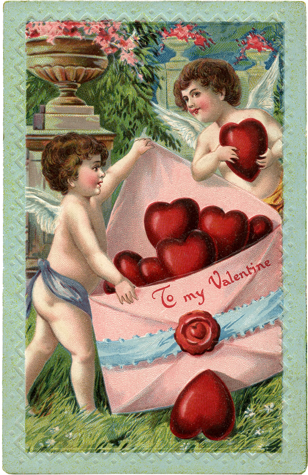Cupids and Hearts Valentine Image