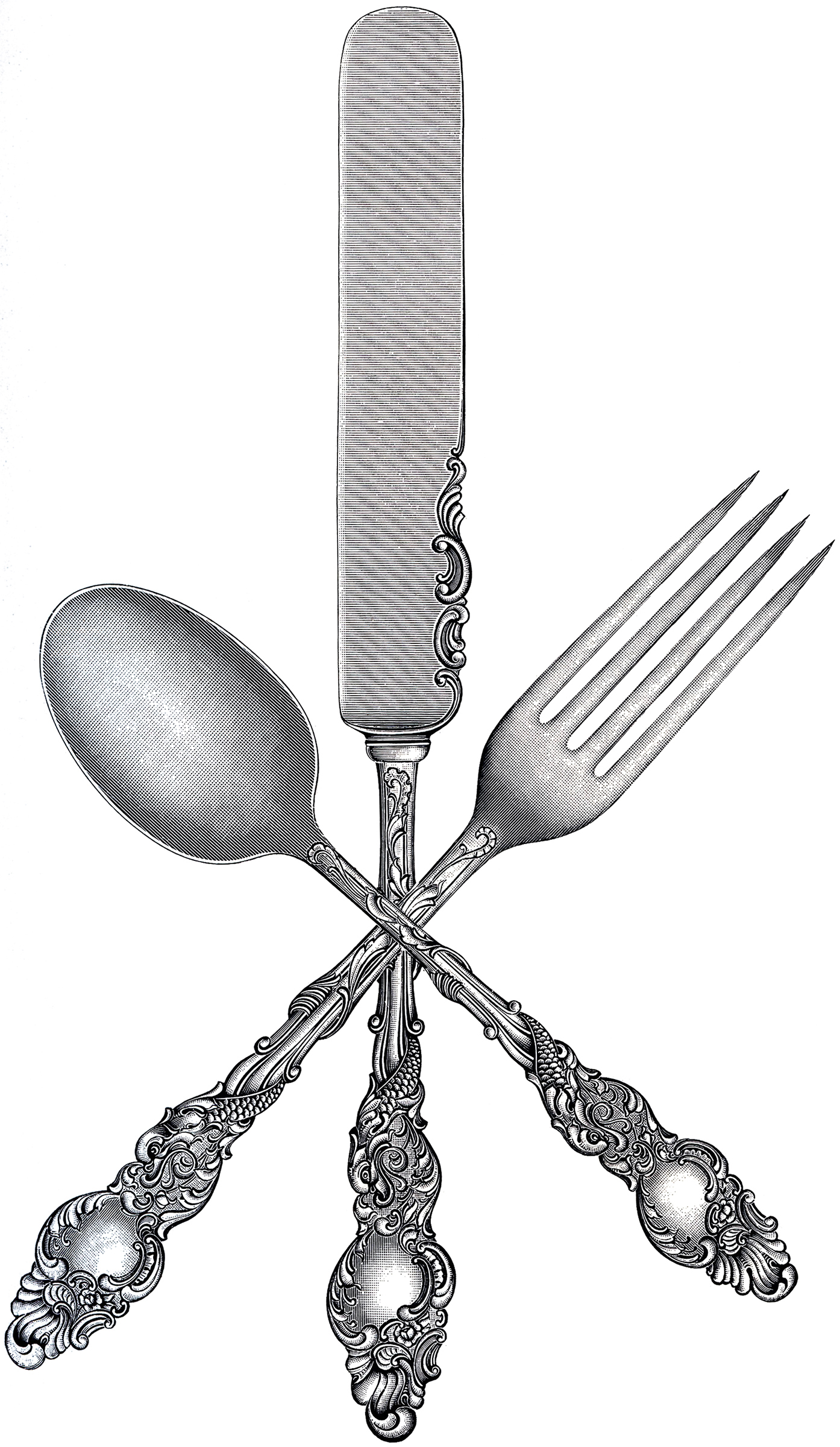 Free Fork Spoon Knife Clip Art - The Graphics Fairy