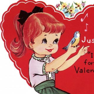 Retro Valentine Heart Image – Girl with Bluebirds
