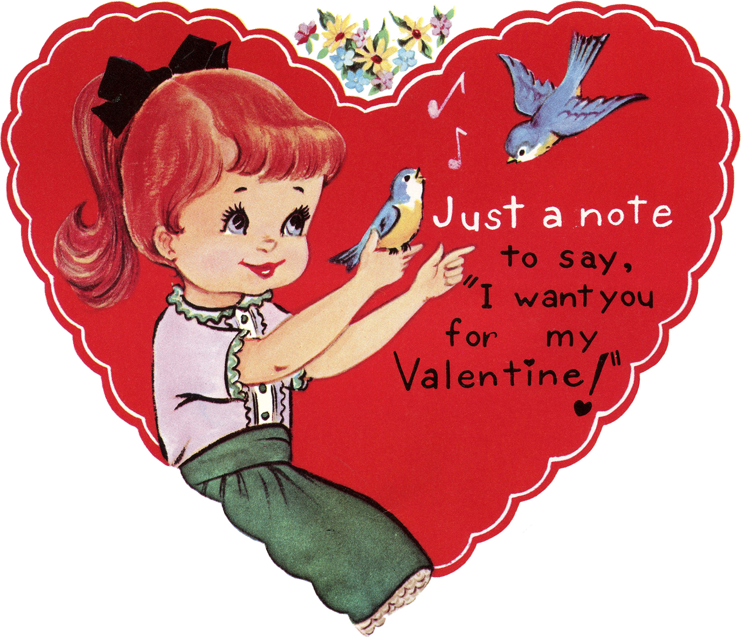 Retro Valentine Heart Image - Girl with Bluebirds - The Graphics Fairy
