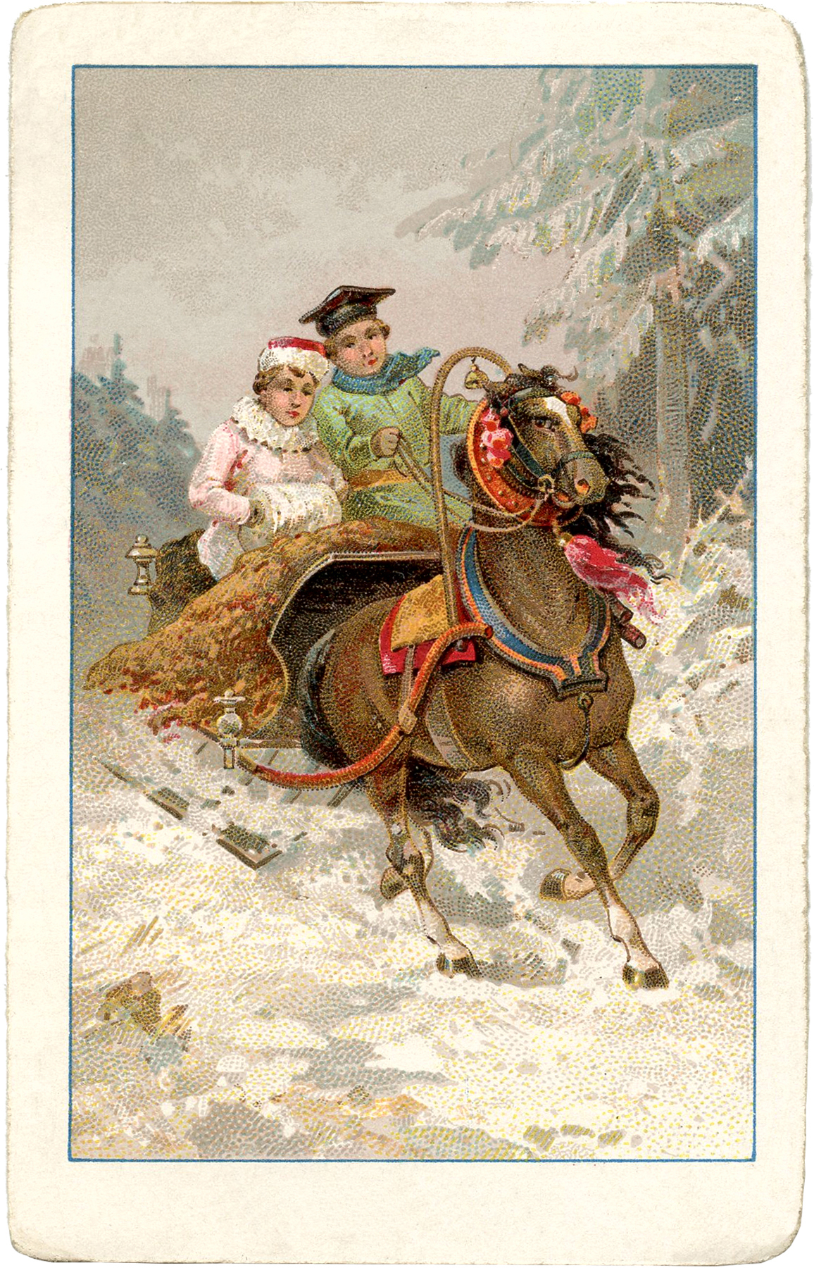 Vintage Sleigh Ride Image The Graphics Fairy