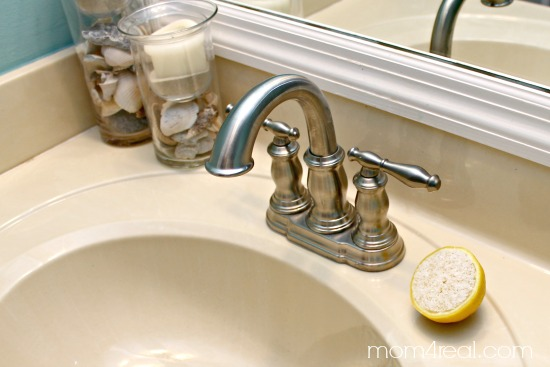 Use salt and lemons to scrub rust and lime stains off of your faucets and porcelain sinks