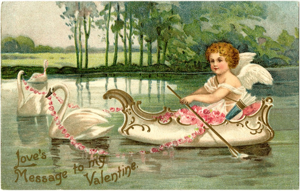 Valentine Cupid with Swans