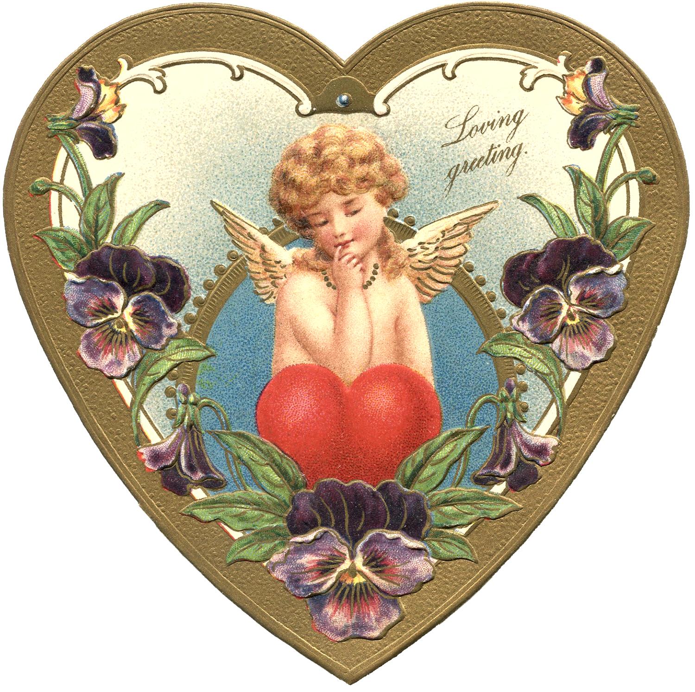 Victorian Valentine Cherub Heart Pansy Image