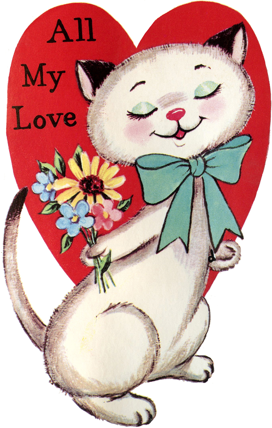 image about Free Printable Vintage Valentine Cards identify 9 Retro Valentines with Pets! - The Graphics Fairy