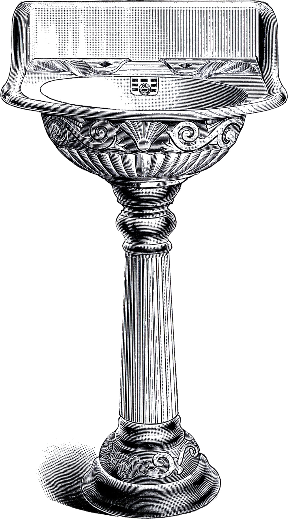 Vintage Pedestal Sink Clip Art The Graphics Fairy