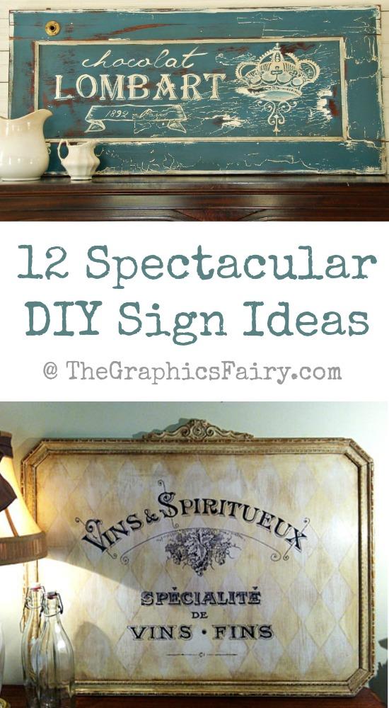 12 DIY PaintedSign Ideas at TheGraphicsFairy.com