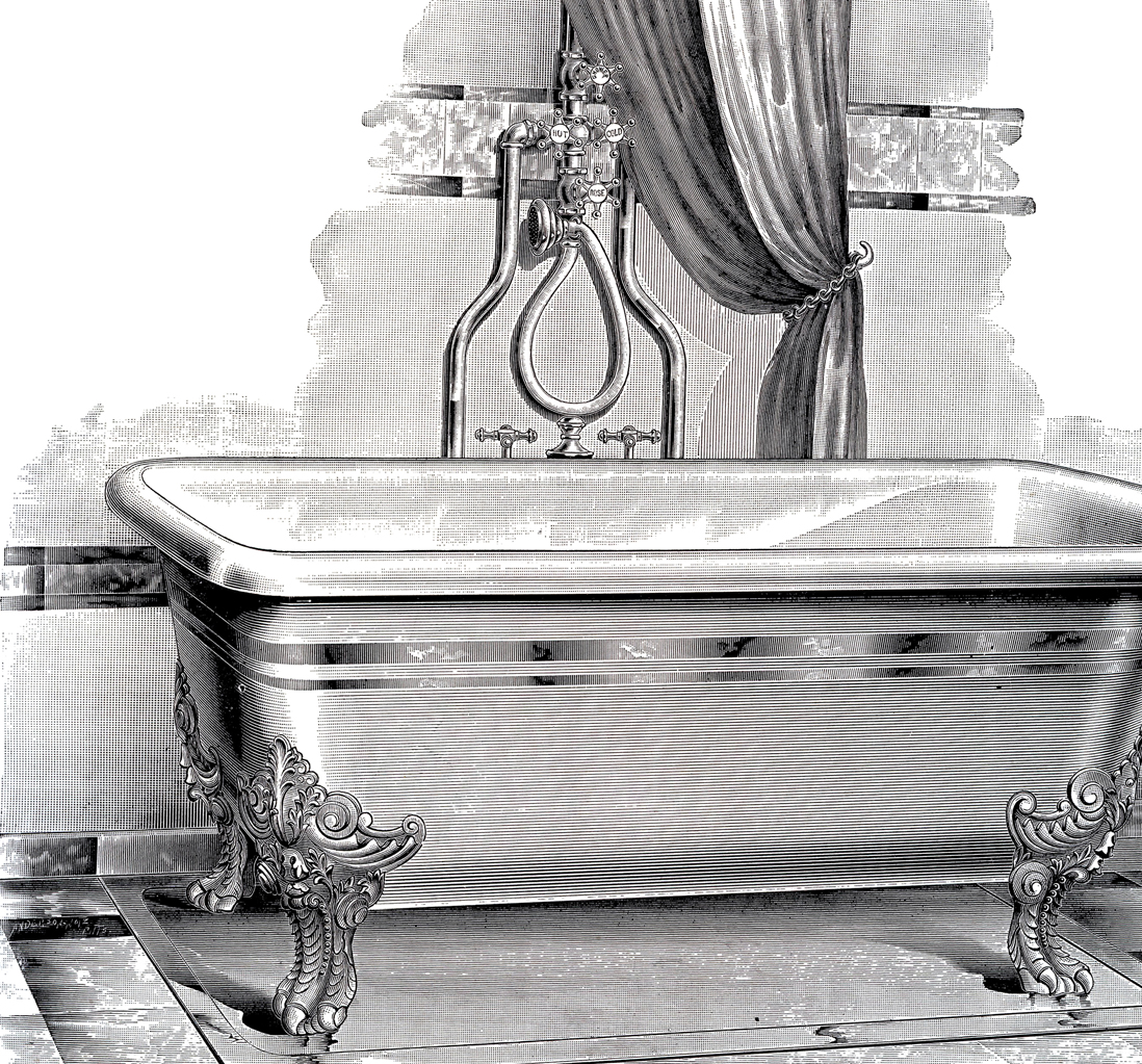 Antique Bathtub Picture - Free Printable - The Graphics Fairy