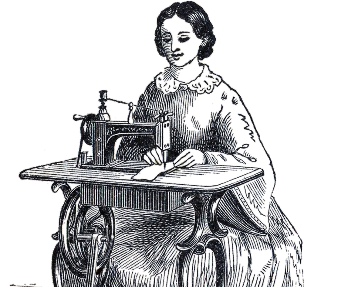 Antique sewing machine lady image the graphics fairy