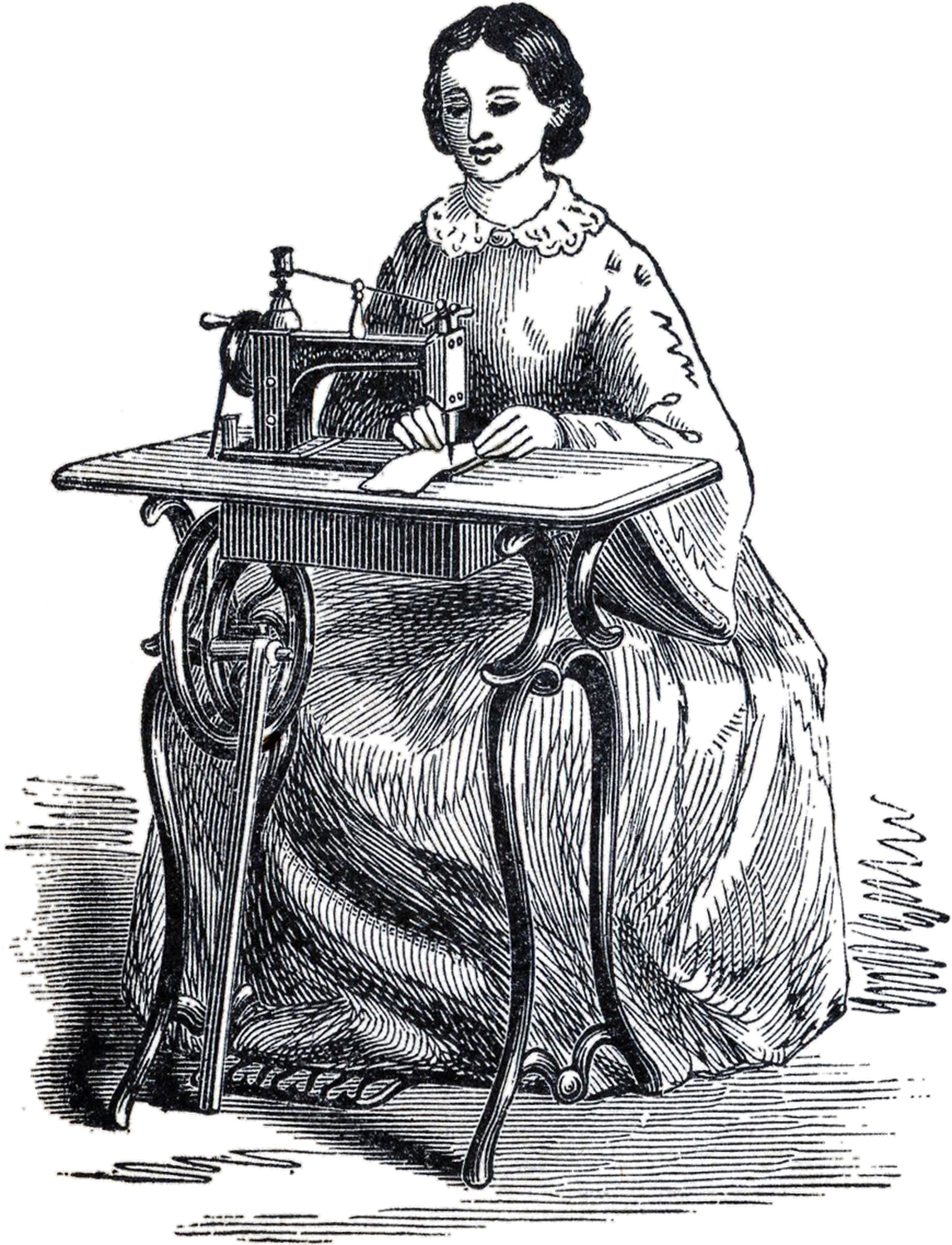 Antique Sewing Machine Lady Image