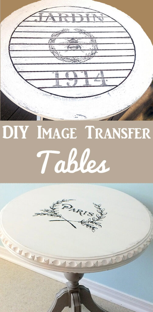DIY Painted Tables with Transfers Pinterest Graphic