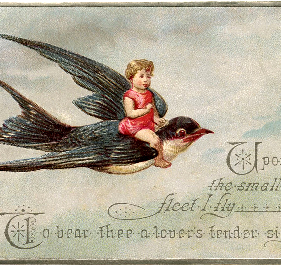 Vintage Flying Bird And Child Image