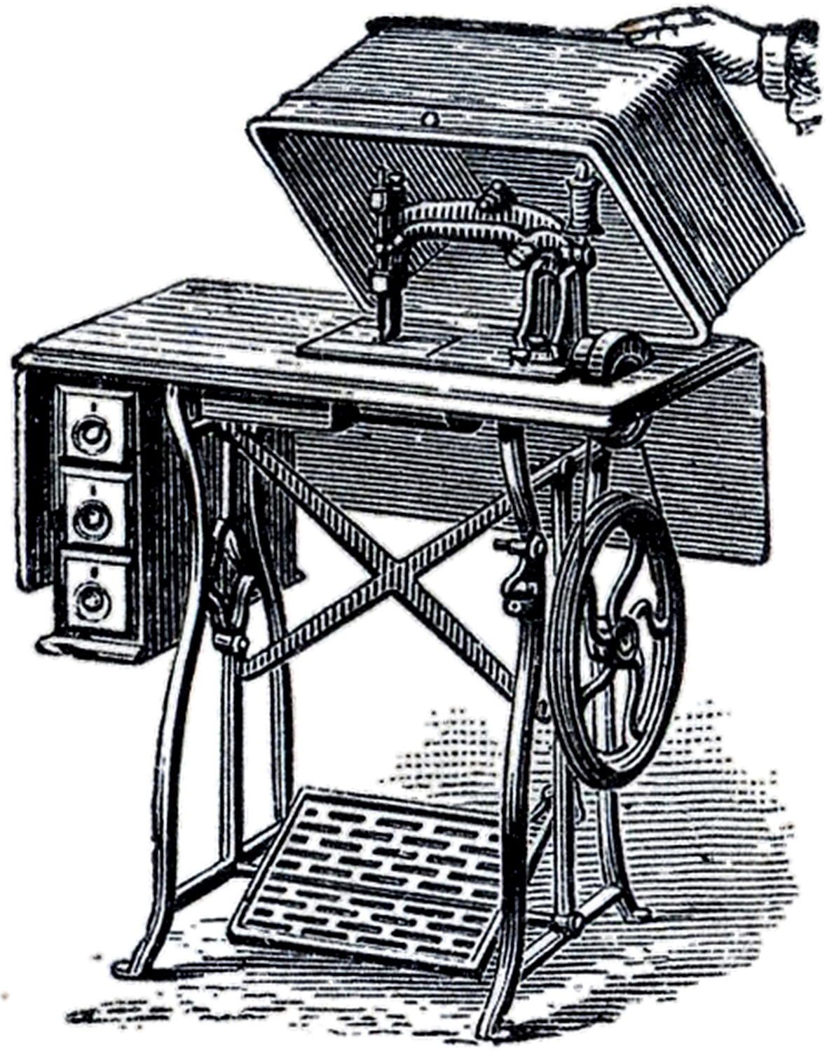 Book Cover Sewing Machines : Old fashioned sewing machine image the graphics fairy