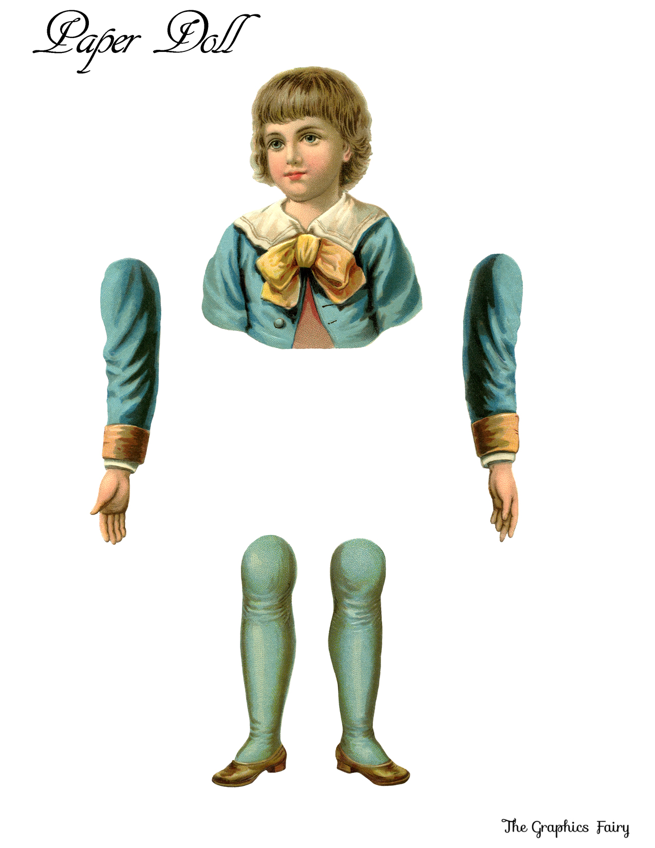 image relating to Printable Vintage Paper Dolls named Basic Printable Paper Doll Boy - The Graphics Fairy