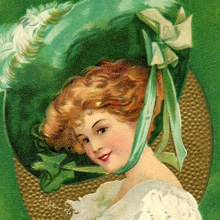 St Patrick's Day Picture – Lady with Large Hat