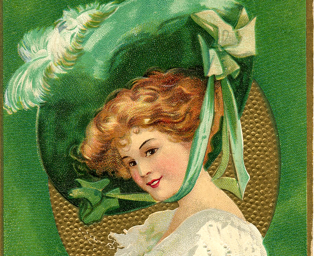 St Patrick S Day Picture Lady With Large Hat The