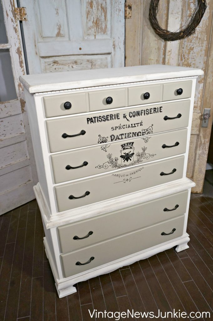 French Vintage Typography Dresser