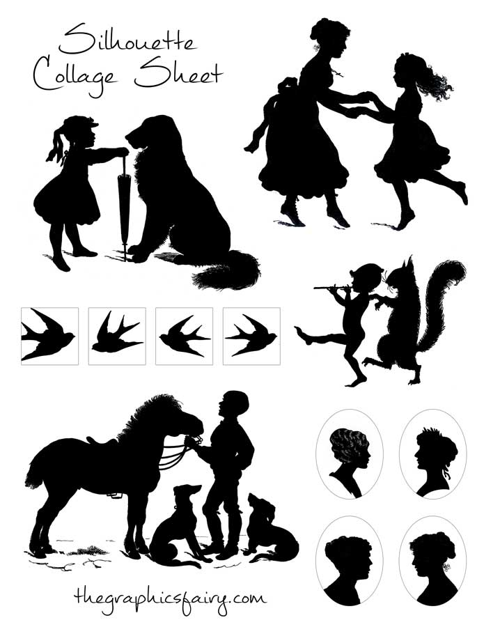 graphics fairy silhouette-collage-sheet