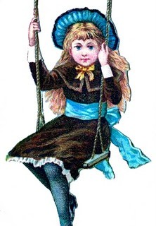 Little Girl On Swing -Vintage Clip Art