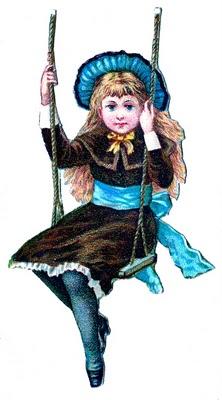 Little Girl On Swing -Vintage Clip Art
