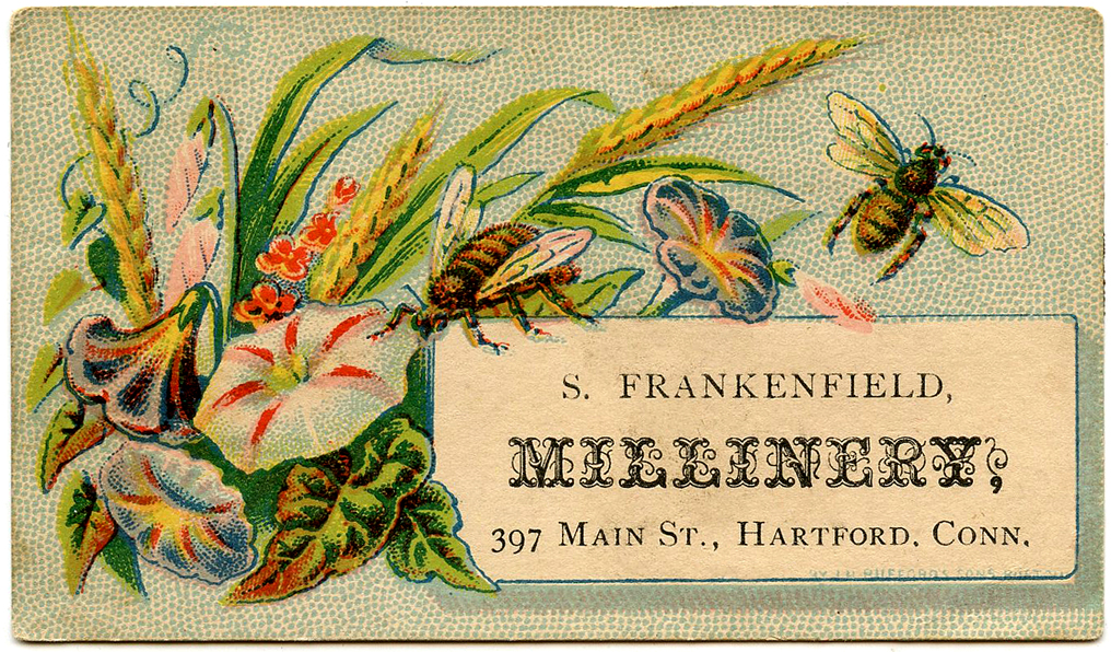 Antique Calling card Flowers and Bees