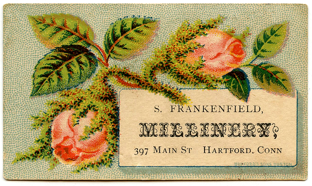 Antique Calling Card Moss Rose