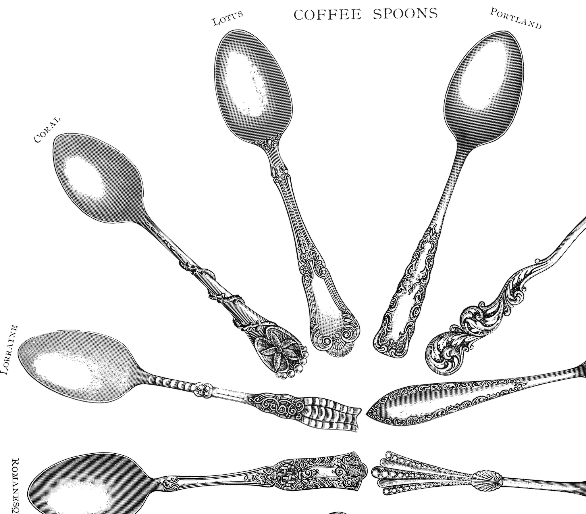 Coffee Spoon Drawing Coffee Spoons Printables The