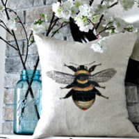 Bee Pillow with Flowers