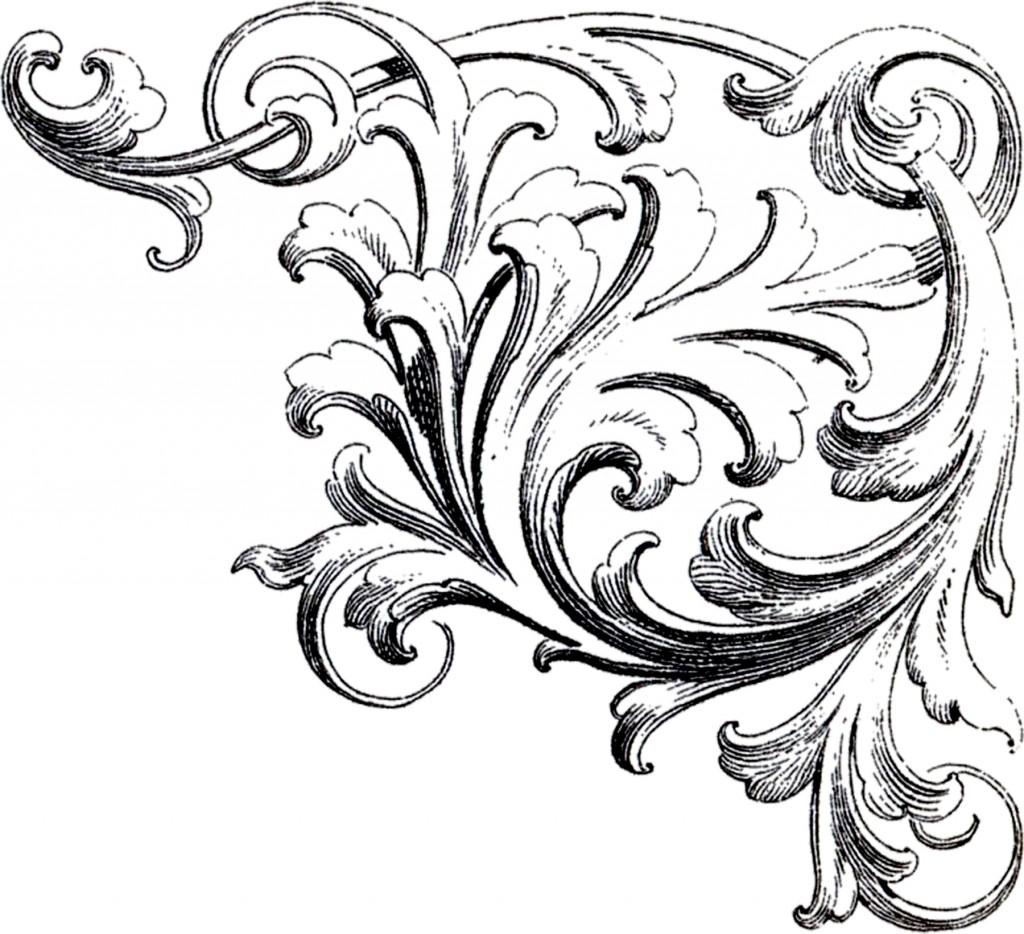 Scrolls Corner Ornament