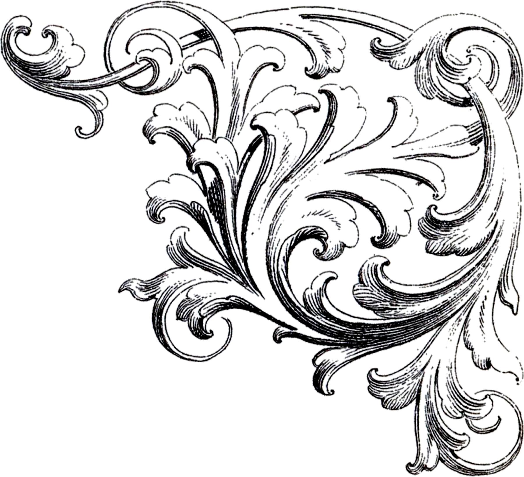 Italian ornaments - Scrolls Corner Ornament 2 Graphicsfairy