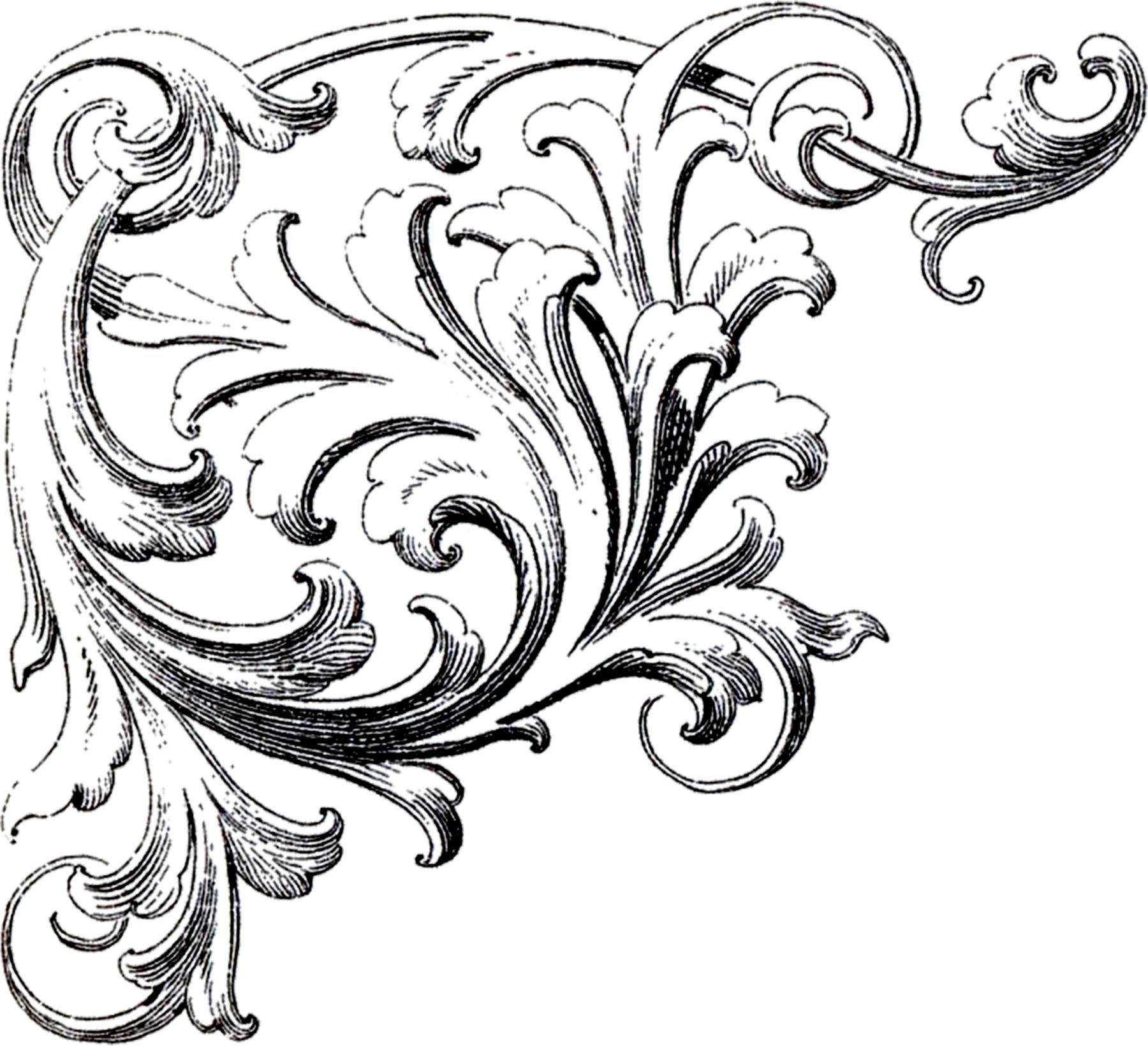 Scrolls Corner Ornament Images - The Graphics Fairy