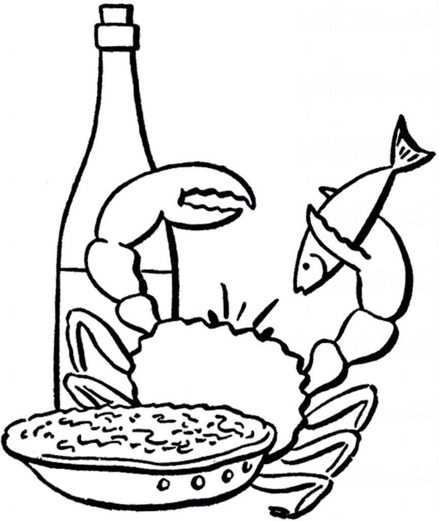 Seafood Dinner Line Art