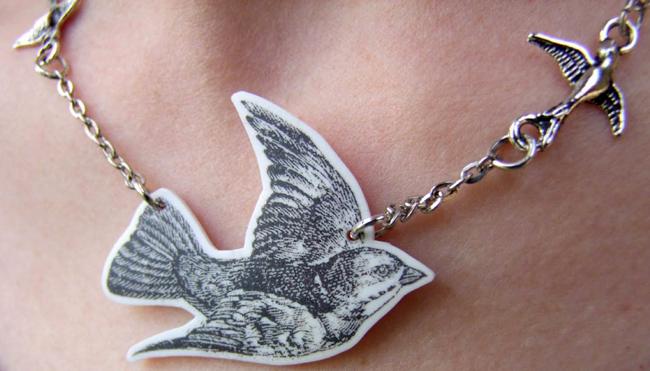 Shrinky Dink Bird Jewelry