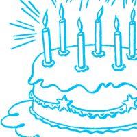 Vintage Birthday Cake Line Art