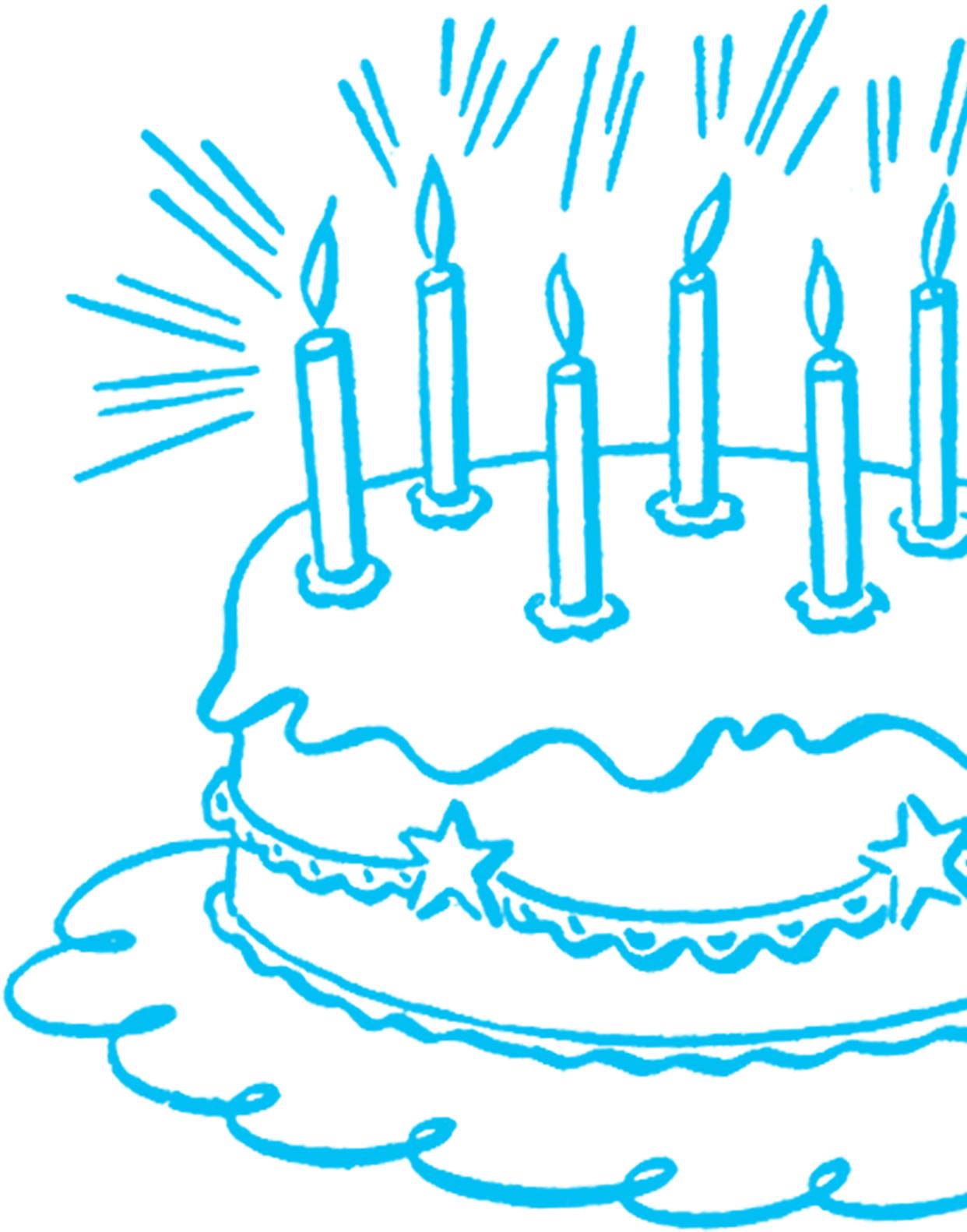 Vintage Birthday Cake Line Art The Graphics Fairy
