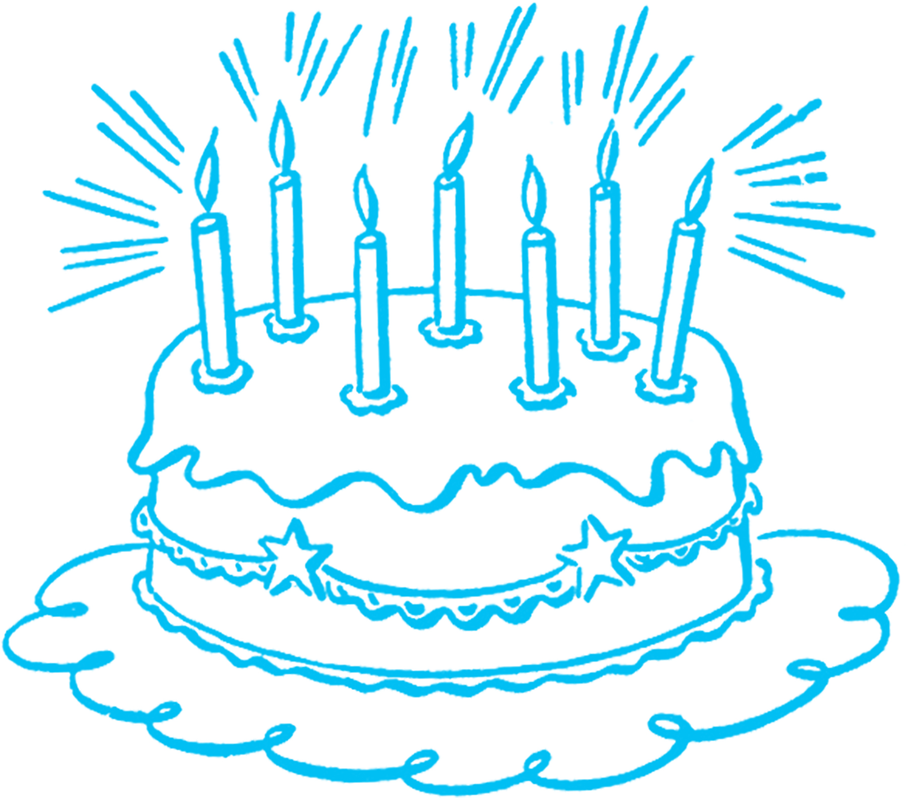 Vintage Birthday Cake Line Art - The Graphics Fairy