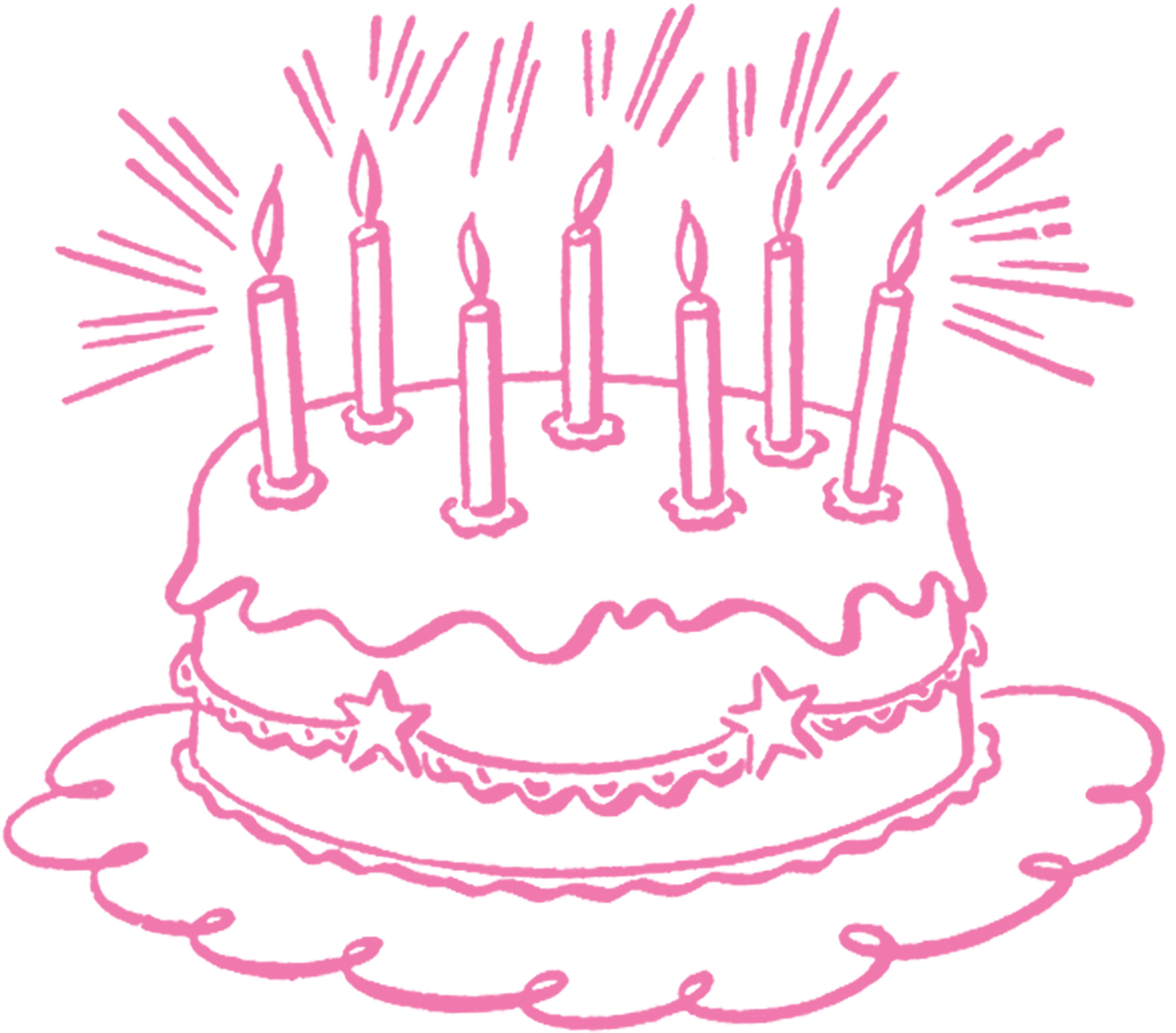 Line Art Graphics : Vintage birthday cake line art the graphics fairy