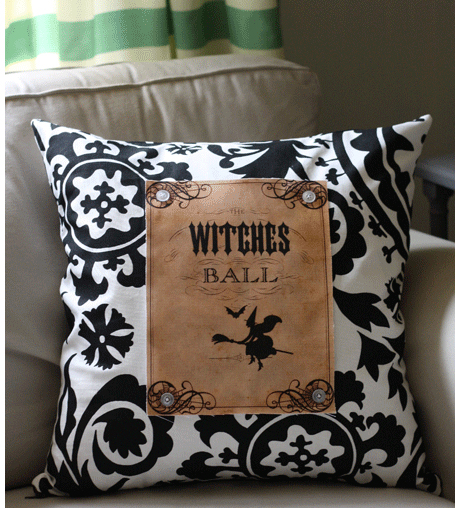 Witches Ball Halloween Pillow