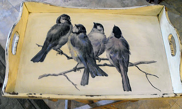 Decoupaged Bird Tray