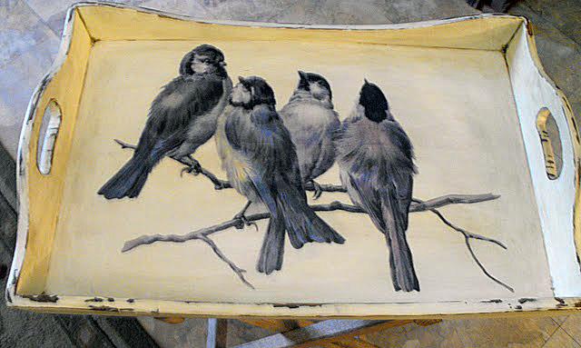 Decoupaged Bird Tray
