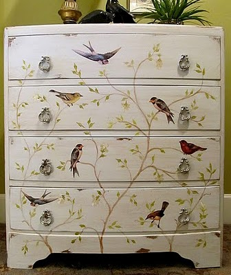 lindy at cottage hill shared this beautiful handpainted and decoupaged bird dresser at one of my brag monday parties lindy used several bird images from