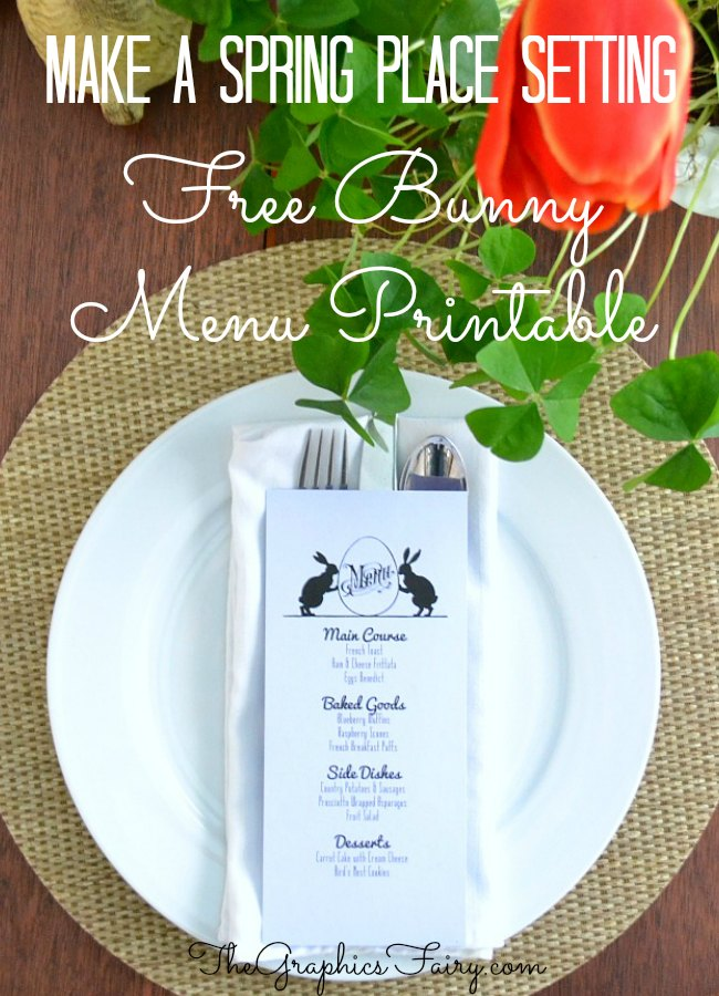 Bunny Menu Template - The Graphics Fairy