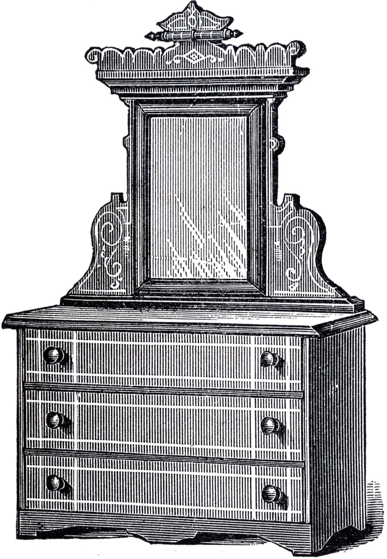 dresser clipart black and white. antique dresser clip art clipart black and white