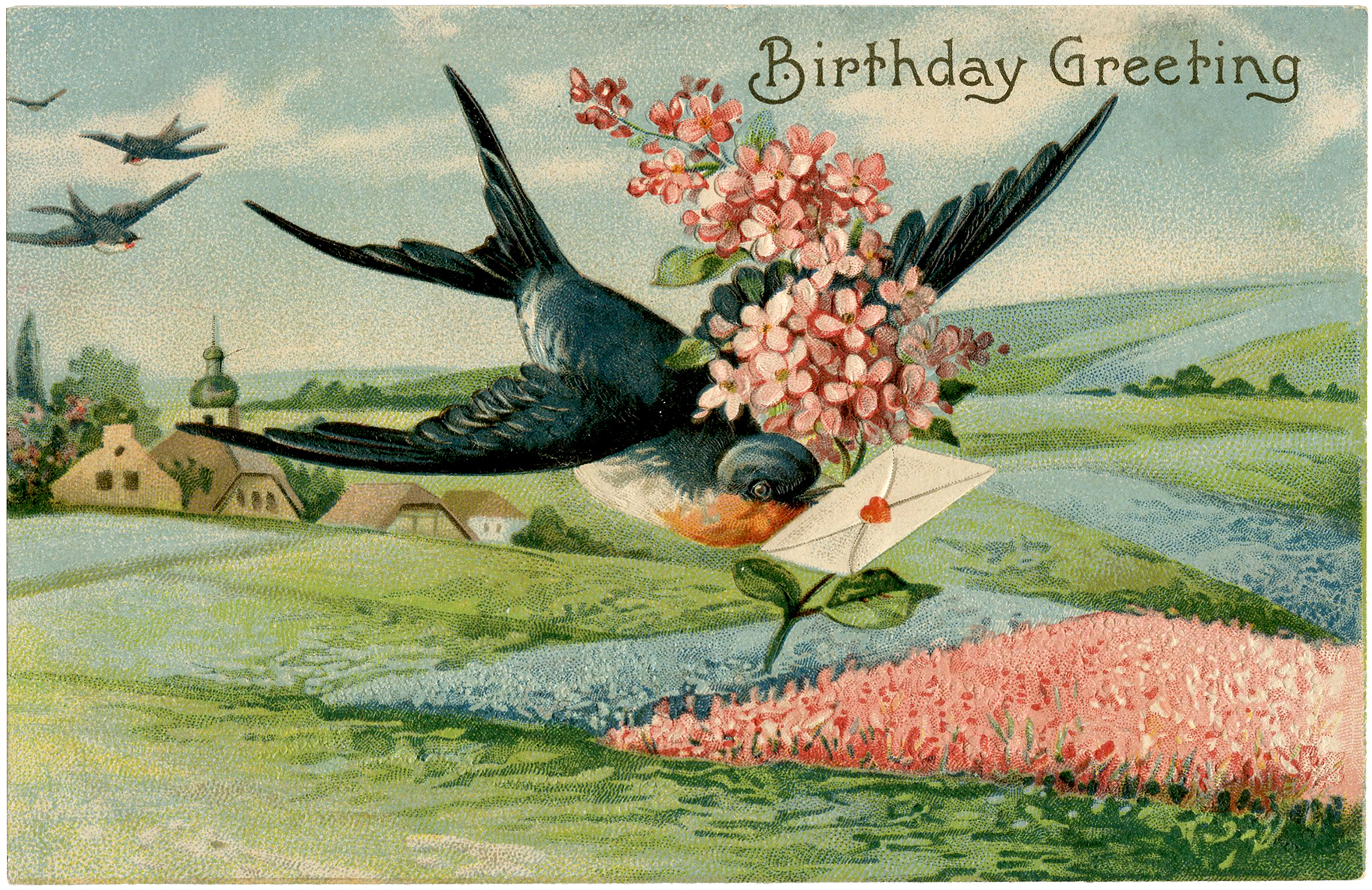 Birthday Swallow Image Extra Pretty The Graphics Fairy – Pretty Birthday Cards